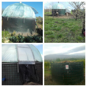Biomeiler with greenhouse on top